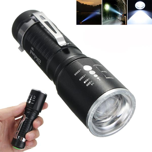 Elfeland 1201 t6 2000lm 5modes zoomable led flashlight