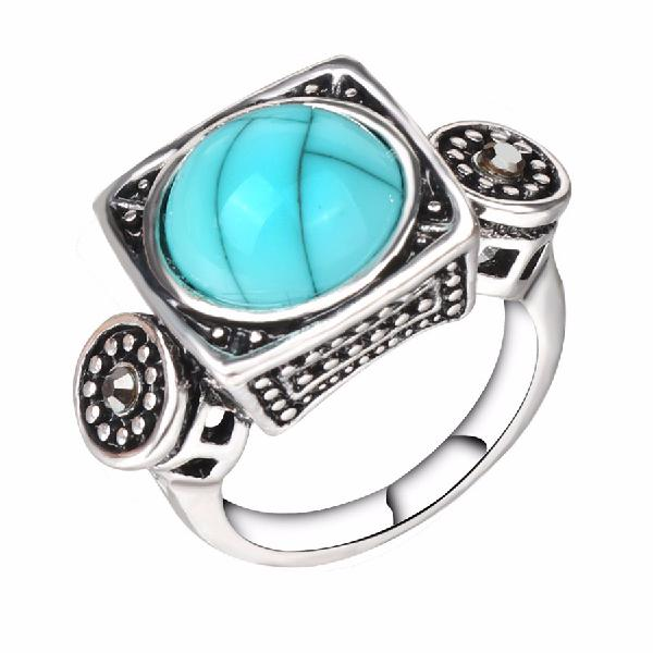 Fashion blue turquoise crystal finger ring geometric antique