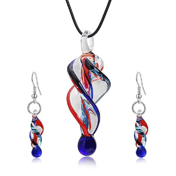Fashion crystal glass tornado shape pendant necklace