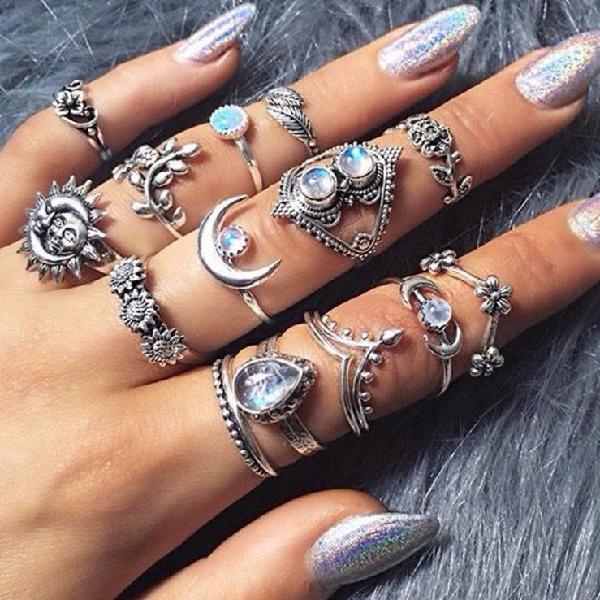 Fashion sunflower moon sun rings set 14 pieces rhinestone
