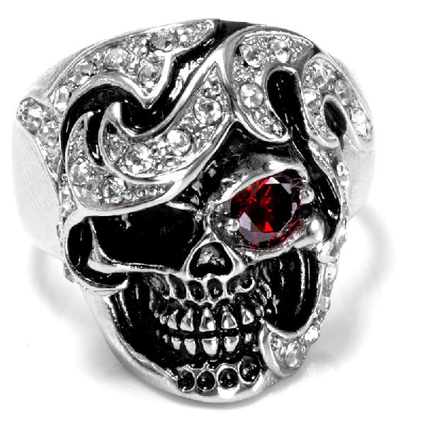 Halloween fashion jewelry stainless steel skull head zircon