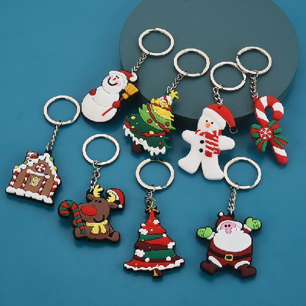 New creative pvc silicone christmas keychain pendant small