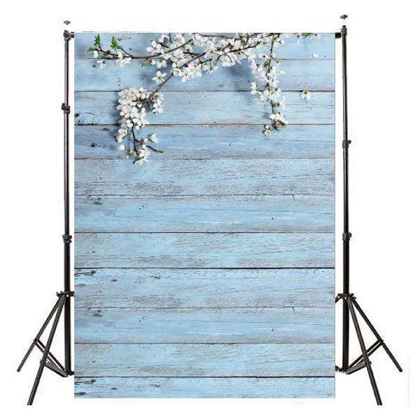 3x5ft white flower blue wood wall photography backdrop
