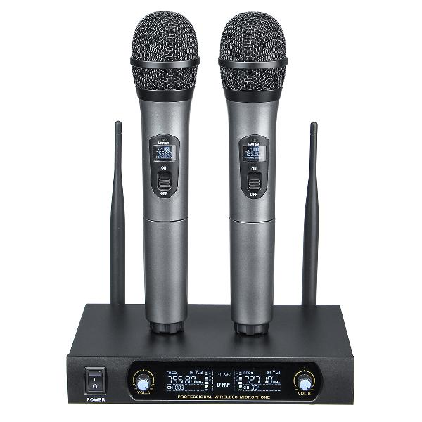 Uhf receiver 2 channel wireless microphone system bass good