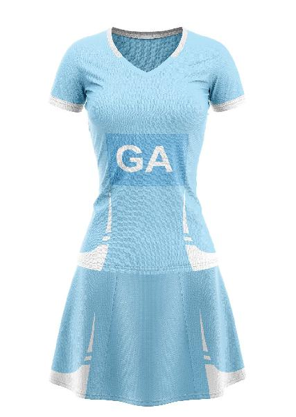 Set of 10 ladies netball outfit - sky blue/white