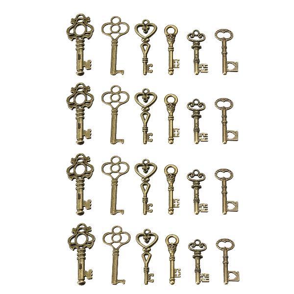 24 antique old vintage look skeleton keys lot bronze tone