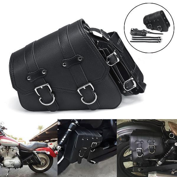Universal motorcycle saddlebags saddle bag black leather for
