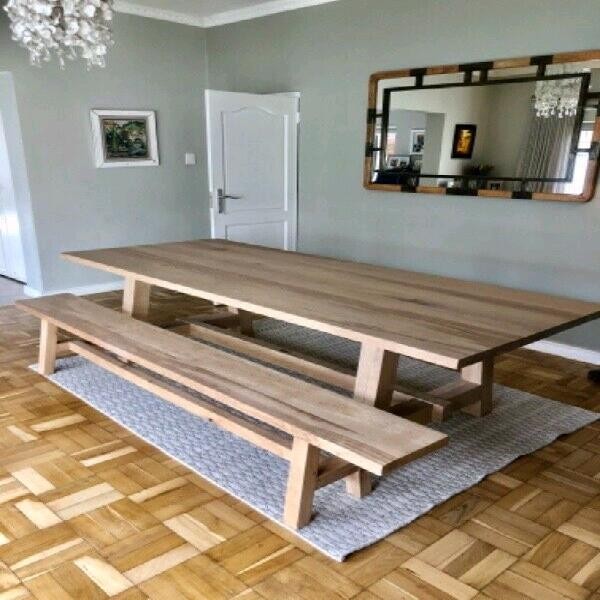 14 seater solid oak table with benches
