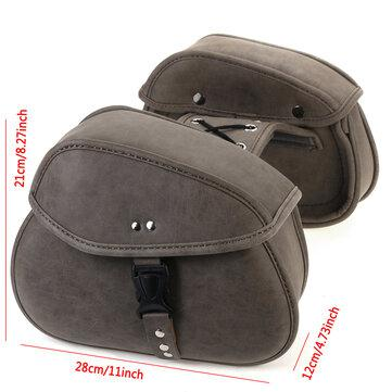 Pair retro travel motorcycle pu leather saddlebags pouch