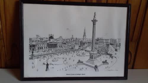 Framed print of nelsons column in trafalgar square