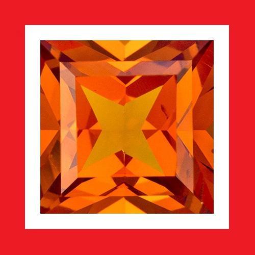 Cubic zirconium - orange faceted square shape - 1.36cts