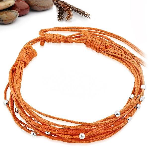 Fashion silver ball beads multi strap orange bracelet