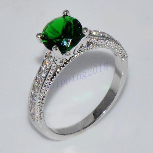 Size 8 fashion green emerald crystal women`s 18k white gold
