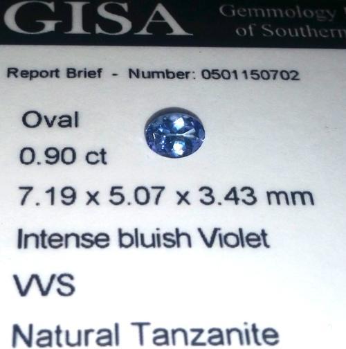 0.900CT TANZANITE [G.I.S.A. CERTIFIED] Intense Violet Blue