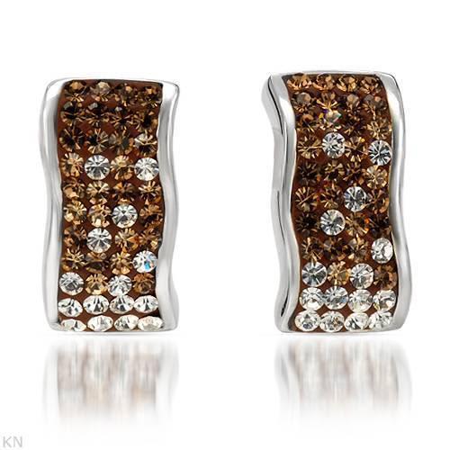 Crystal and brown enamel stud earrings in 925 sterling