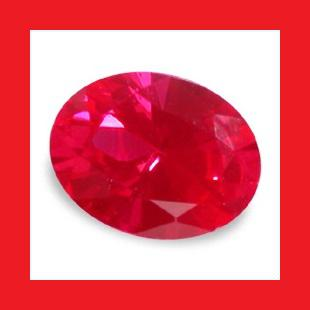RUBY [Created] - Faceted Top Red Oval Shape - 0.90cts