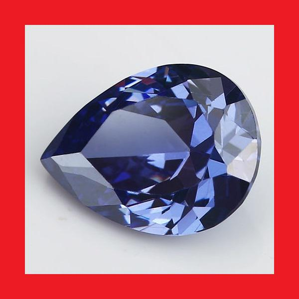 TANZANITE [Created] - Faceted Violet Blue Pear Shape -
