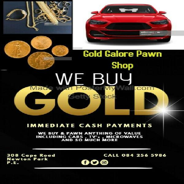 We buy and pawn gold.gold coins and jewelry.broken