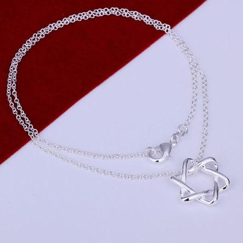 Fashion silver plated necklace with pendant (l023)