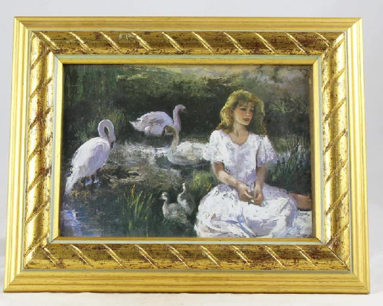 Framed print of girl seated with swans - gorgeous! - bid