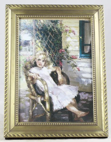 Framed print of little girl on chair - gorgeous! - bid