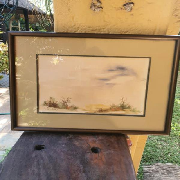 Lovely small framed watercolour landscape by artist heather