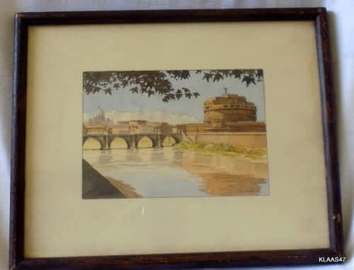 Watercolour - signed giambini - framed size 25.5x20.5cm