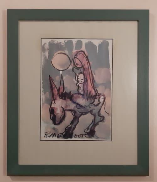 Frans claerhout ~ framed print ~ mother, child on donkey