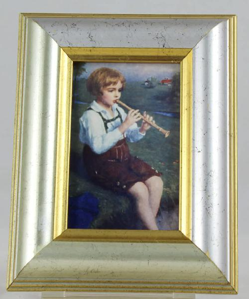 Framed print of boy playing flute - gorgeous! - bid now!!!