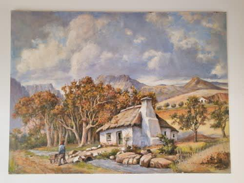 Jac koper. cape cottage in the mountains. original oil on