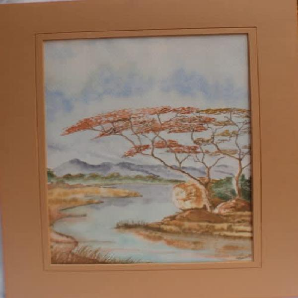 Stunning original watercolour by p.breedt, 1982 lovely sa