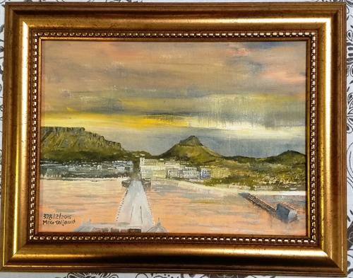 The old pier. framed mike taljaard original oil on board