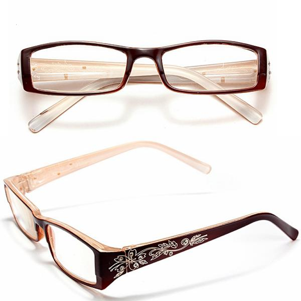 Tawny female diamond flower frame presbyopic reading glasses
