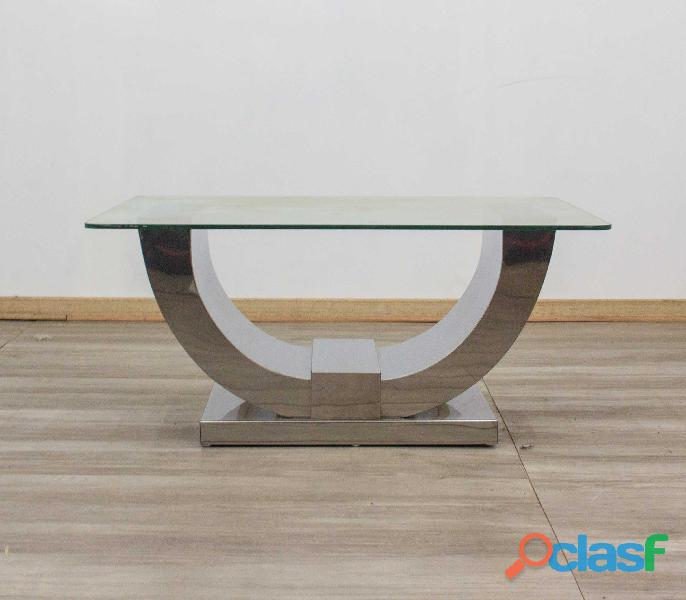 Glass Coffee Table – Split Monaco – Stainless Steel