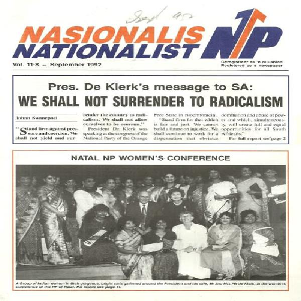 South african national party - sep 1992 newsletter