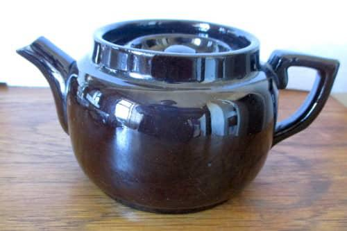Vintage charcoal color one person ceramic tea pot. made in
