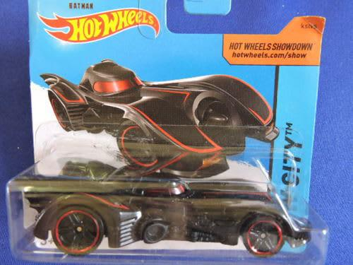 Hot wheels batmobile (wing fins red pin stripes).