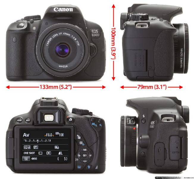 Canon 650d camera kit - lens, charger & battery included