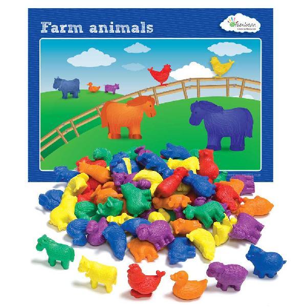 Edx education - counters farm animals 72pc & activity cards
