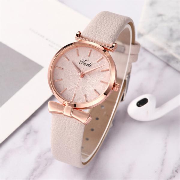 Fashion casual elegant women watches leather band dial rose