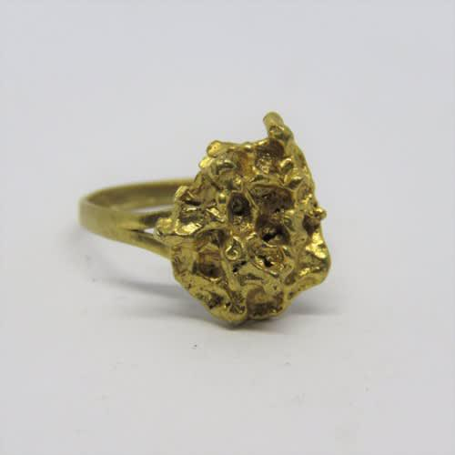 Goldplated gold nugget design fashion jewellery ring - size: