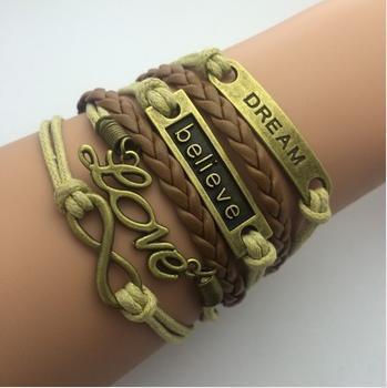 Leather infinity bracelets - love believe dream - brown