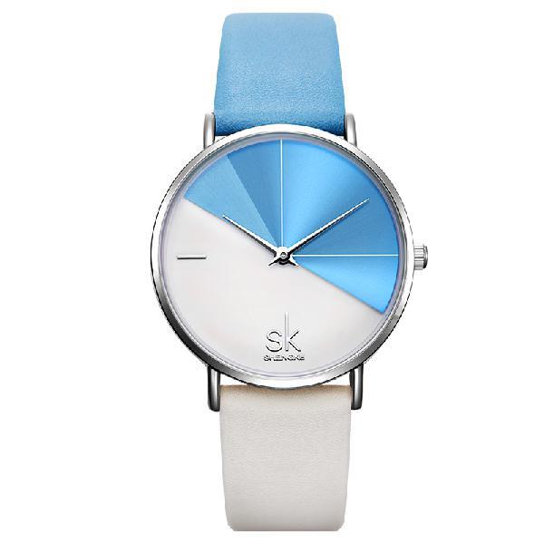 Shengke sk k0095 simple 2 color dial fashion leather strap