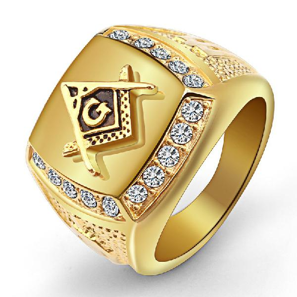 Fashion gold titanium steel finger ring rhinestone