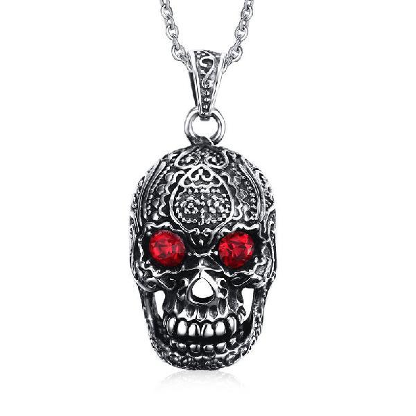 Fashion mens jewelry titanium steel chain red eye skull