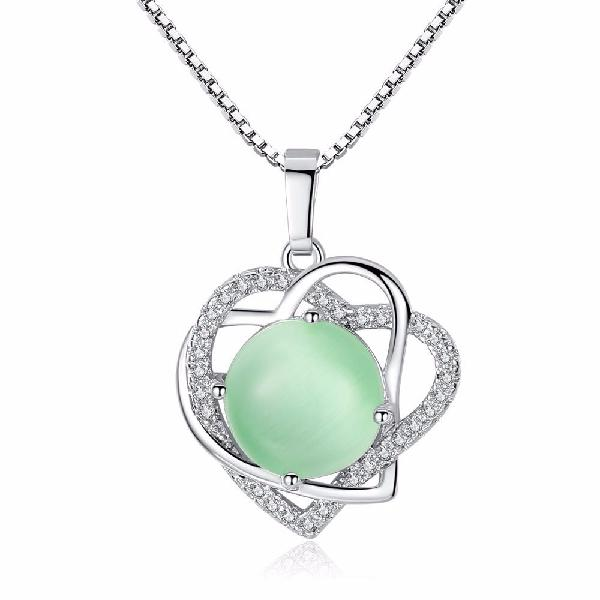 Fashion pendant necklace double hearts crystal round green