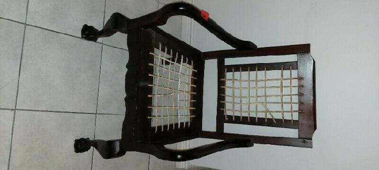 Antique imbuia chair with riempies