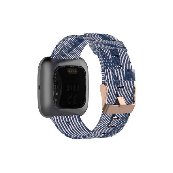 For fitbit versa canvas watch strap(blue white stripes)