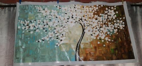 Large 21st century japanese cherry blossom tree oil on