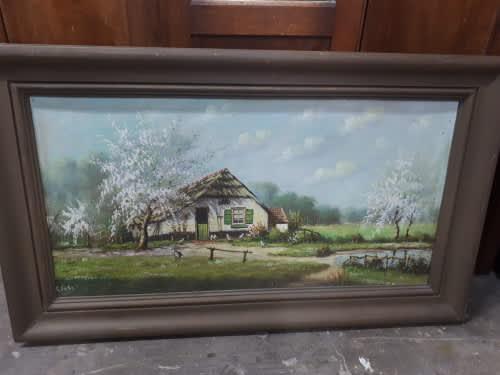 Original oil on board farmhouse scene signed c finke